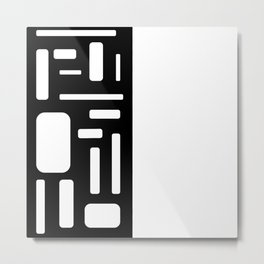 Half white geometric design Metal Print