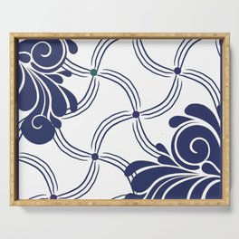 Navy and White Swirls Serving Tray