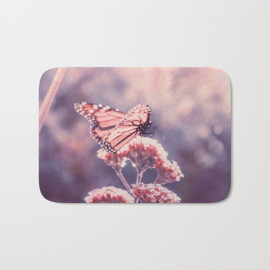Butterfly Kisses, Dusty Purple Bokeh Background Bath Mat