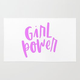 Girl Power 2 Pink and White Rug