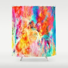 Colorful Abstract Nebula Shower Curtain