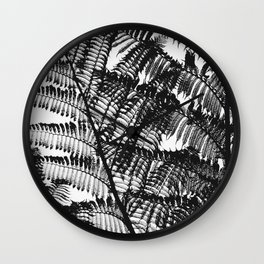 Black and White Fern Silhouette Pattern Wall Clock