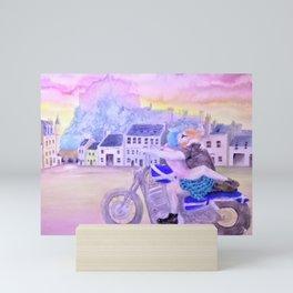 Biker Couple under Edinburgh Castle Mini Art Print