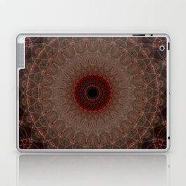 Brown mandala with red sun Laptop & iPad Skin