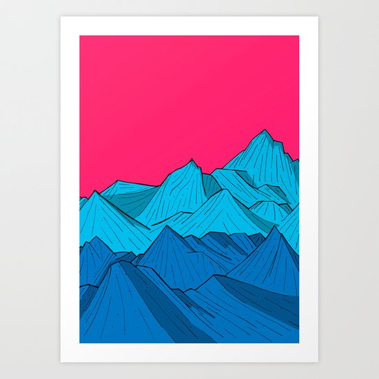 Mountains under the pink sky Art Print