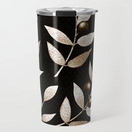 Bronze Berries And Leaves Watercolor Pattern On Black Travel Mug