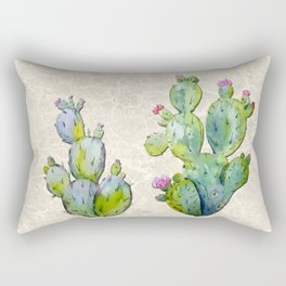 Water Color Prickly Pear Cactus Adobe Background Rectangular Pillow