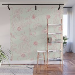 Hellebore Pink Line Art on White Wall Mural