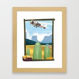 Desert and cactus Framed Art Print