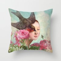 silent Throw Pillows featuring The Silent Garden by Christian Schloe