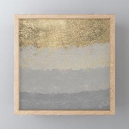 Geometrical ombre glacier gray gold watercolor Framed Mini Art Print