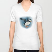 puffin V-neck T-shirts featuring Puffin by Belcast