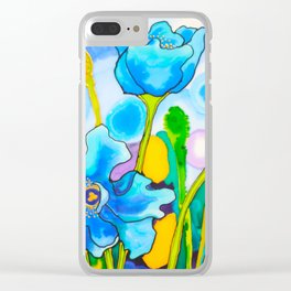 Blue Poppies 1 of Belize Clear iPhone Case