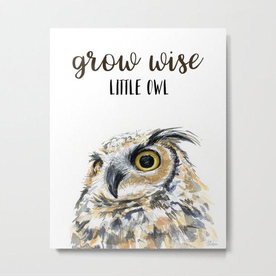 Grow Wise Little Owl Nursery Animals Art Great Horned Owl Metal Print