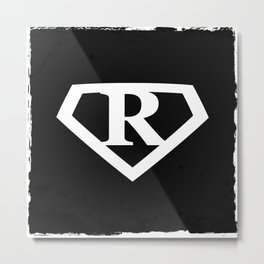 White Letter R Symbol Metal Print