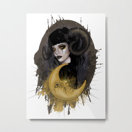 Aries girl | Gothic zodiac Metal Print