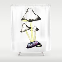 mushroom Shower Curtains featuring MUSHROOM by gaus