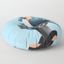 Girl with parrot Floor Pillow