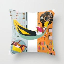 Reading on a spaceship Throw Pillow