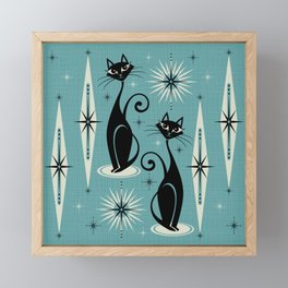 Mid Century Meow Retro Atomic Cats - Square Art Print Framed Mini Art Print