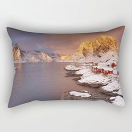 Spectacular light over Reine village on the Lofoten, Norway Rectangular Pillow
