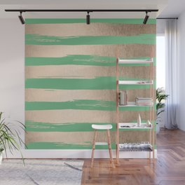 Painted Stripes Gold Tropical Green Wall Mural