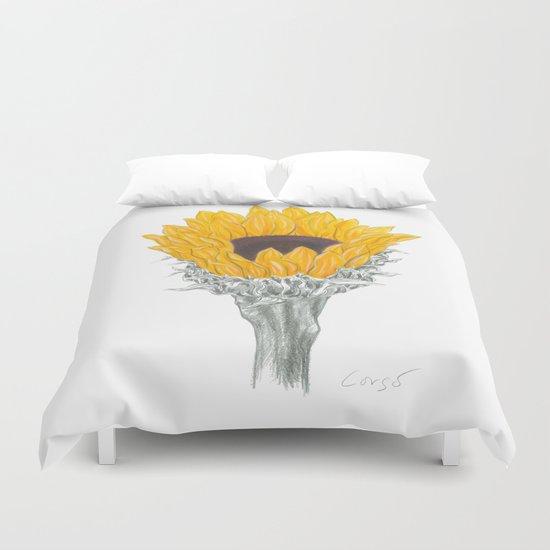 Sunflower 01 Botanical Flower Duvet Cover