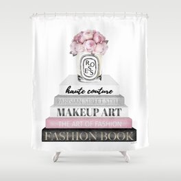 Blush, Pink, Fashion books, Peony, Peonies, Pink and Gray, Gray, Books, Fashion books, Fashion Shower Curtain