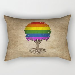 Vintage Tree of Life with Gay Pride Rainbow Flag Rectangular Pillow