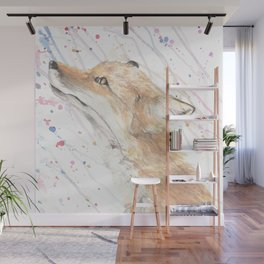 "Watercolor Painting of Picture ""Fox in the Rain"" Wall Mural"