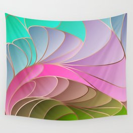 Pink Green Art Nouveau Wall Tapestry