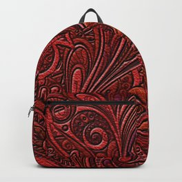Elegant Oriental Floral Swirl on Red Leather Backpack