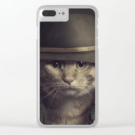 Cat in the hat Clear iPhone Case