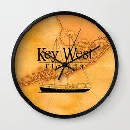 Key West Sailing And Nautical Map Wall Clock