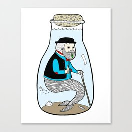 A Merman In Captivity Passing Gas In A Bottle  Canvas Print