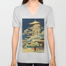 Japanese Woodblock Print Vintage Asian Art Colorful woodblock prints Shrine At Night Snow White Unisex V-Neck