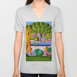 Classical Masterpiece 'A Cuca' by Tarsila do Amaral Unisex V-Neck