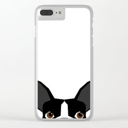 Boston Terrier head peeking cute dog gifts funny must haves boston terriers Clear iPhone Case