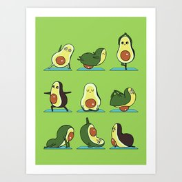 Avocado Yoga Art Print