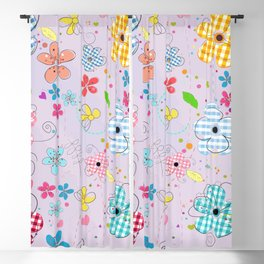 Colorful Cute Doodle Flowers Spring Time Flowers With Lilac Background Pattern Blackout Curtain