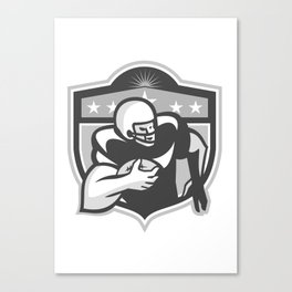 American Gridiron Wide Receiver Running Grayscale Canvas Print
