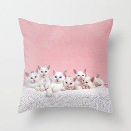 Bedtime for Seven Fluffy White Kittens Throw Pillow