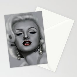 Portrait of Marilyn M. With red lips and blue eyes V 2 Stationery Cards