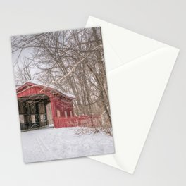 Vermont Red Covered Bridge in Snow Stationery Cards