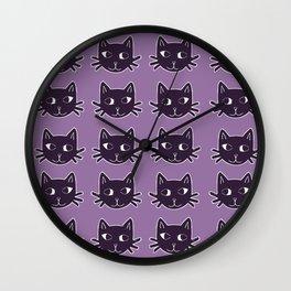 Cat Print Purple Wall Clock