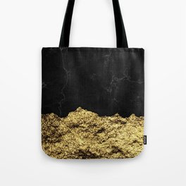 Rough Gold Torn and Black Marble Tote Bag