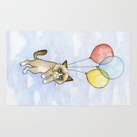 meme Area & Throw Rugs featuring Cat With Balloons Grumpy Birthday Meme by Olechka