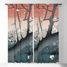 botanical ukiyo-e painting nature garden spring japanese plum flower Blackout Curtain