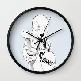 black and white bang saitama Wall Clock