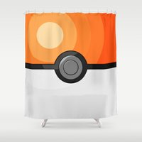 pokeball Shower Curtains featuring Orange Pokeball by Amandazzling